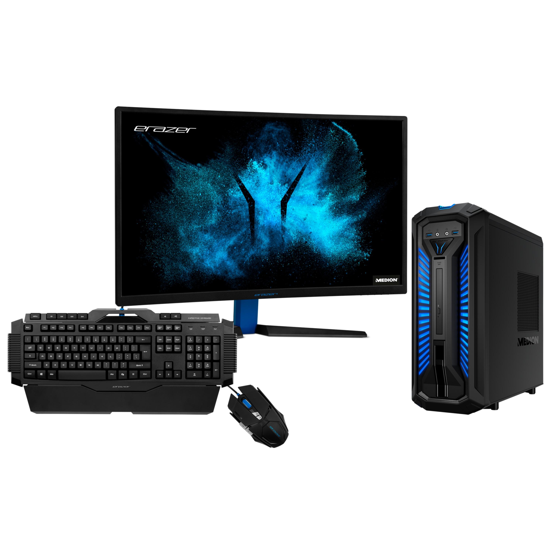 ERAZER® X67122, Intel® Core™ i5-9400, Windows10Home, GTX 1660 Ti, 256 GB SSD, 1 TB HDD, 16 GB RAM, Gaming PC, 27'' ERAZER® X57425 Curved Gaming Monitor + ERAZER® Gaming Tastatur X81025 + ERAZER® Gaming Maus X81044