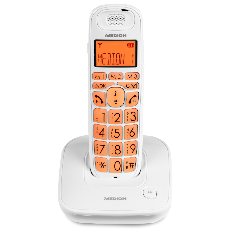MEDION® LIFE® E63197 Komfortables DECT Großtasten Telefon, Full-ECO-Funktion, Hörgerätekompatibel, optische Signalisierung bei eingehendem Anruf, Freisprechfunktion
