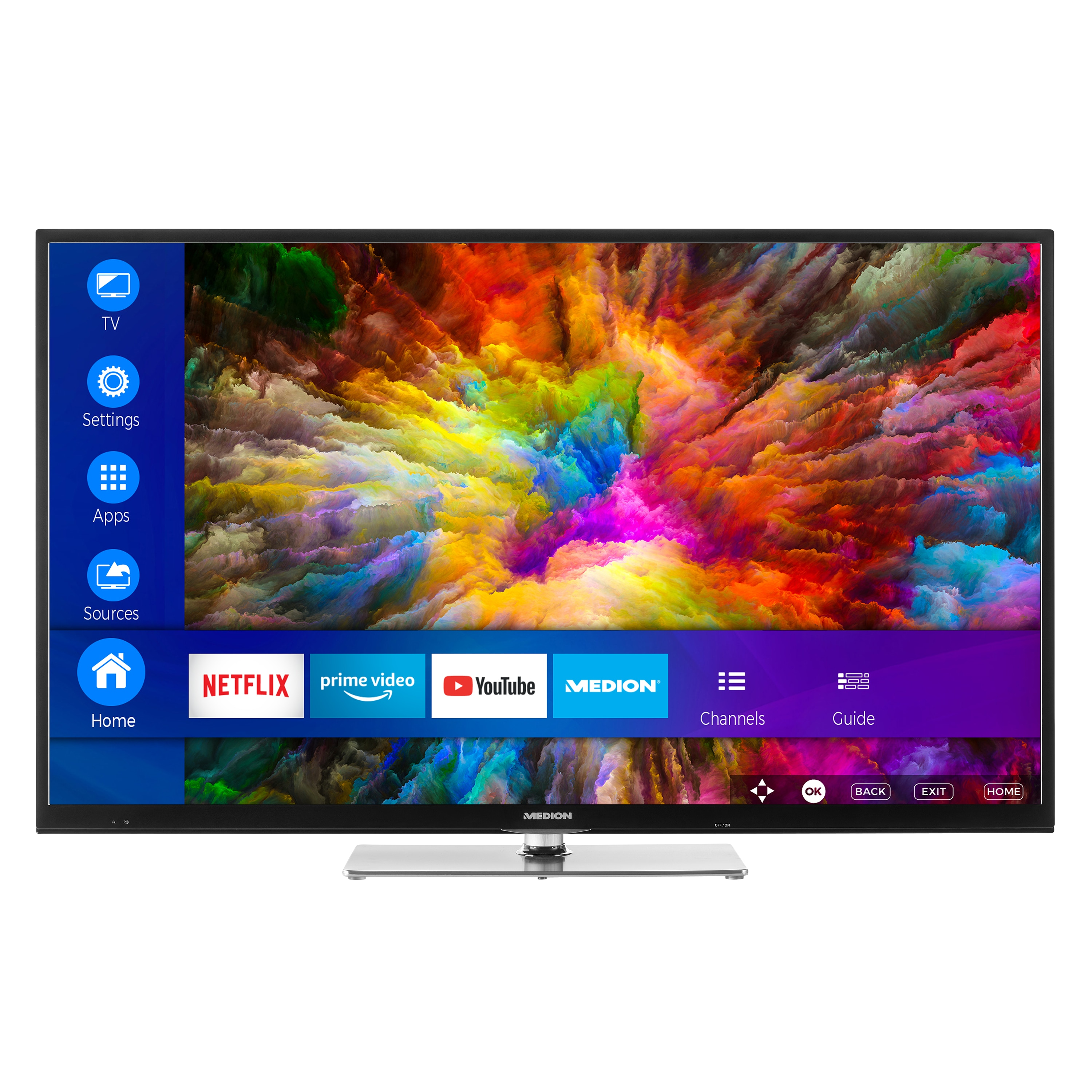 MEDION® LIFE® X14305 Smart-TV, 108 cm (43) Ultra HD Display, HDR, Dolby Vision, PVR ready, Netflix, Amazon Prime Video, Bluetooth®, DTS HD, HD Triple Tuner, CI+