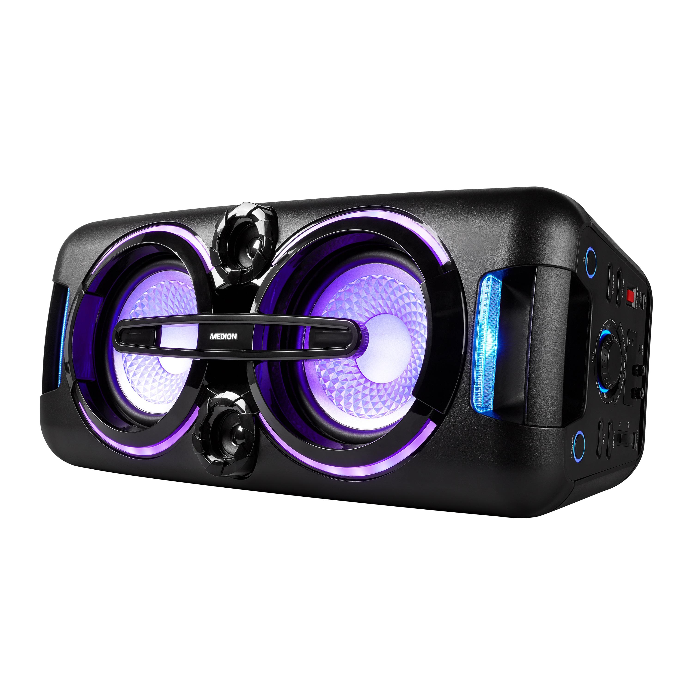 MEDION® LIFE® X61555 Party Sound System, PLL-UKW, X-Bass, Mikrofonanschluss, Kabellose Musikübertragung, verschiedene Beleuchtungseffekte