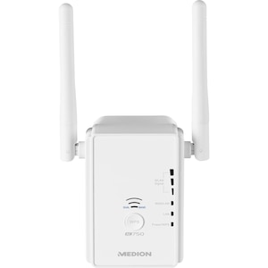 MEDION® P85059 Dualband WLAN Verstärker, Erweitert schnell und effektiv die Reichweite Ihres vorhandenen WLAN Netzwerkes