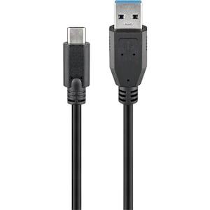GOOBAY USB-C ™ naar USB A 3.0-kabel, SuperSpeed-gegevensoverdracht tot 5 Gbit / s, supersnelle synchronisatie en opladen met maximaal 15 W