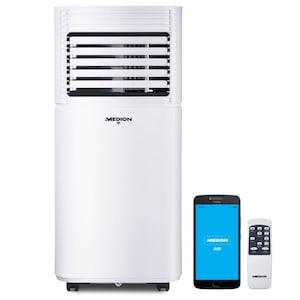 MEDION® Slimme mobiele airconditioner MD 37216 | koelen, ontvochtigen en ventileren | koelvermogen 9.000 BTU | koelmiddel R290 | max. 32m² | app- en spraakbediening