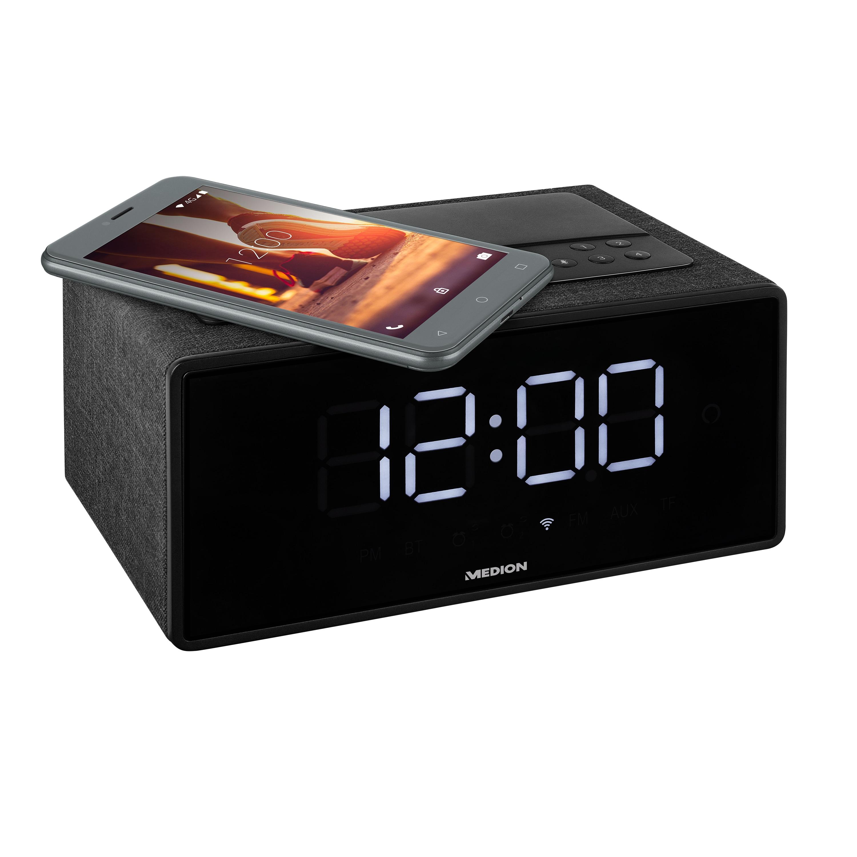Günstig Kaufen beim Preisvergleich-MEDION LIFE® P66970 WLAN-Weckstation mit Amazon Alexa, LED-Display, Bluetooth®, DLNA, Fernfeld-Spracherkennung, Party-Mode, Qi-Ladefunktion, 2 x 5 W R Alexa integriert - Steuerbar mit der Stimme,  WLAN, DLNA, Multiroom,  Qi-Ladefunktion,  Streame Mus