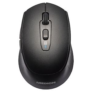 MEDION® LIFE P81010 Souris sans fil | Bluetooth | Contrôle 2,4 GHz | Capteur optique de la souris | 6 boutons et molette de défilement | Interrupteur DPI | Ergonomique