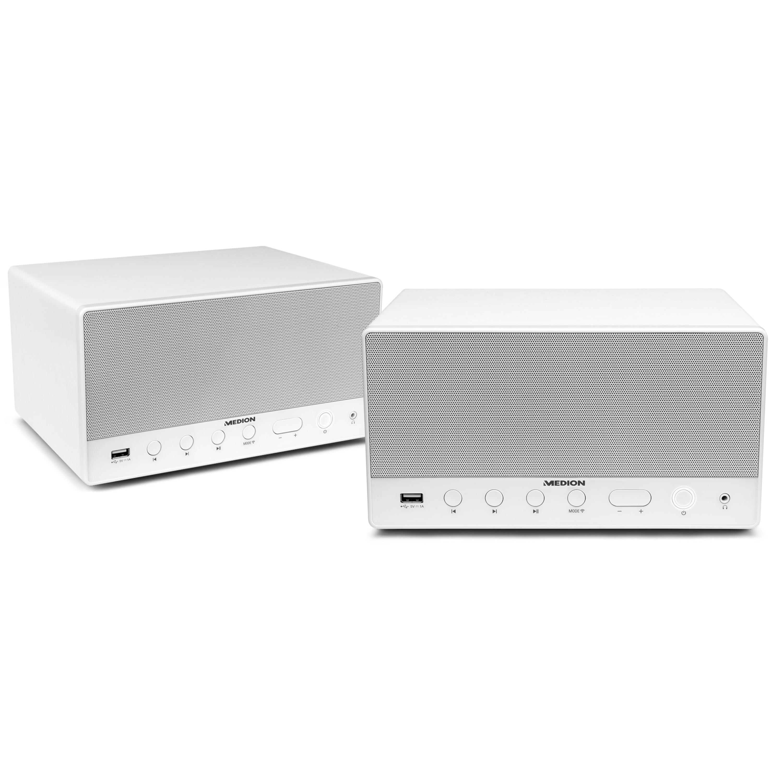 MEDION® Sparpaket - 2 x MEDION® LIFE® P61071 Multiroom Lautsprecher mit WLAN, Spotify Connect kompatibel, DLNA, USB Ladeanschluss, AUX-In, 2 x 7 Watt + 15 Watt RMS