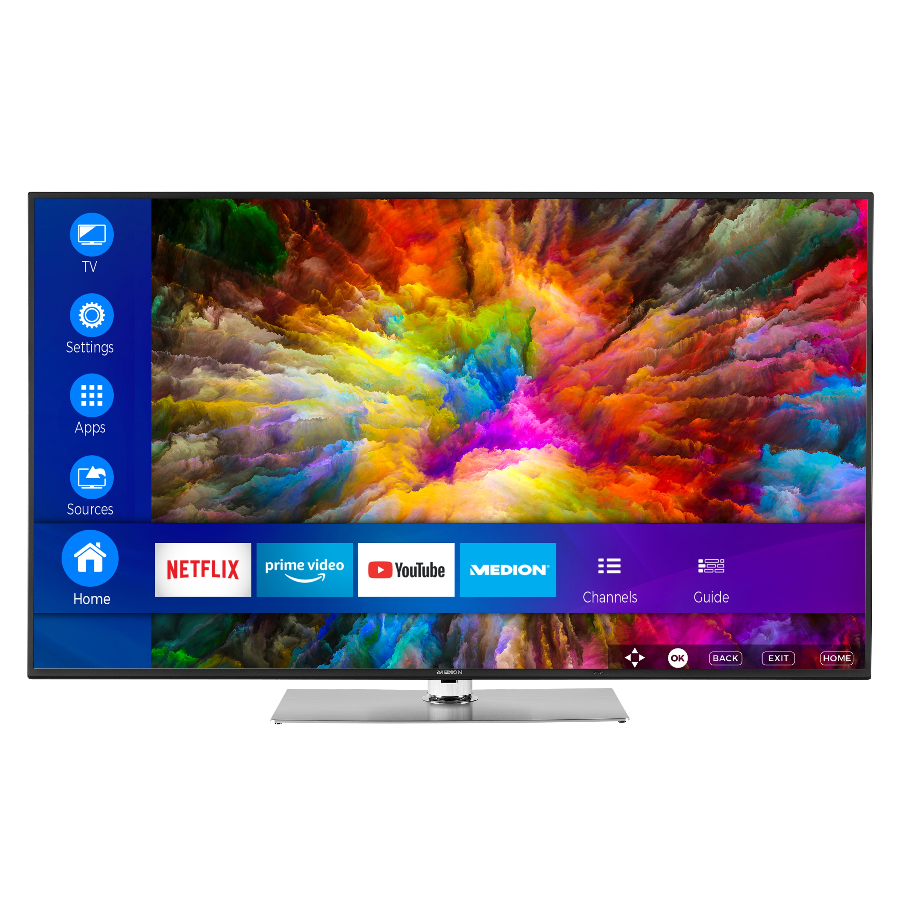 MEDION® LIFE® X16565 Smart-TV, 163,9 cm (65'') Ultra HD Display, HDR, Dolby Vision™, PVR ready, Netflix, Amazon Prime Video, Bluetooth®, DTS HD, HD Triple Tuner, CI+