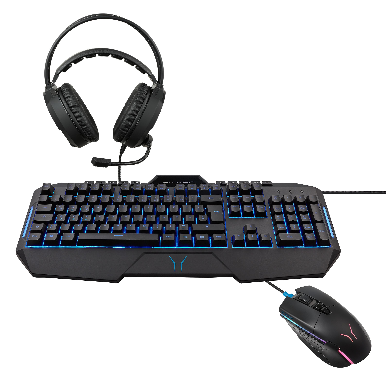 Günstig Kaufen beim Preisvergleich-MEDION ERAZER® X81035 Gaming Maus + X81200 Gaming Tastatur + X83009 Gaming Headset - ARTIKELSET Maus mit optischem PixArt PMW 3389 Sensor mit 16.000 DPI und 500 mAh Li-Polymer Akku,  Semi-mechanische Gaming-Tastatur mit 19 Anti-Ghosting Tasten,  2.0 St