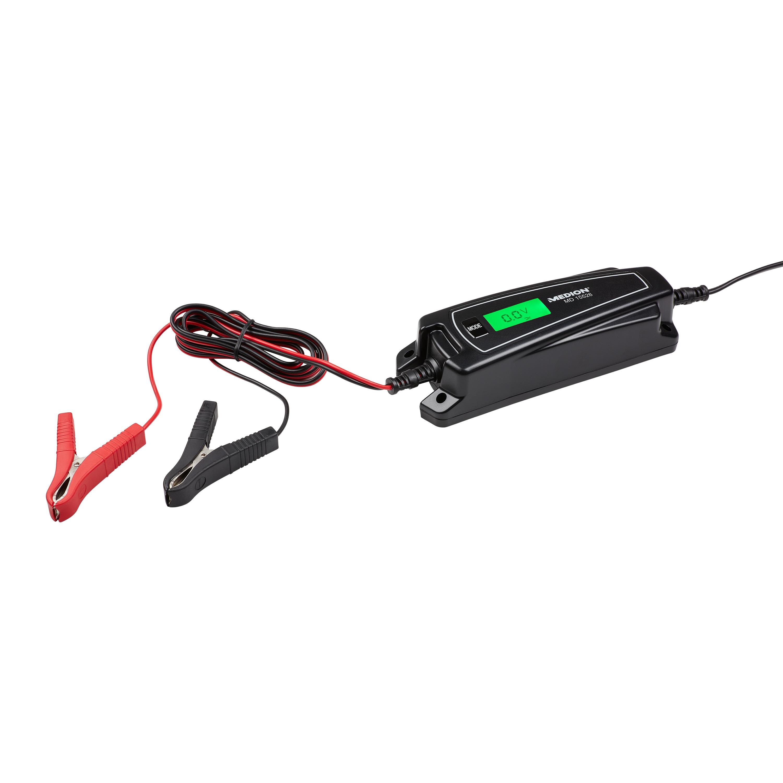 MEDION® KFZ-Batterieladegerät MD15526, Wiederbelebung von Autobatterien, automatische Anpassung, 1,9 m Lade- und 1,8 m Netzkabel