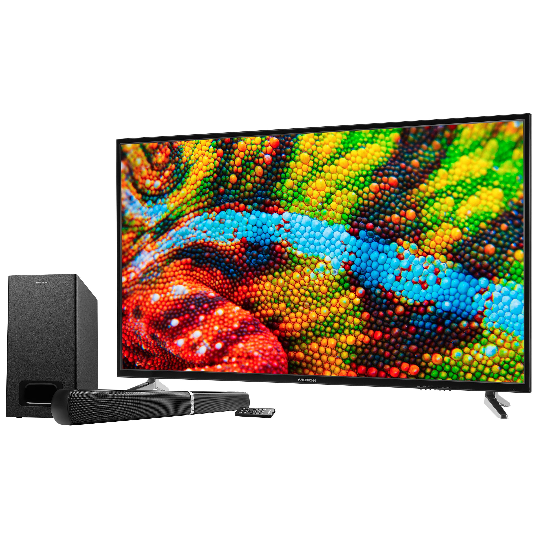 MEDION® LIFE® P15500 TV, 138,8 cm (55), Ultra HD, PVR ready, integrierter Mediaplayer, DVB-T2 HD, HD Triple Tuner, CI+, inkl. 2.1 TV Soundbar E64126