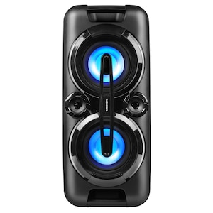 MEDION® LIFE® P67013 Partylautsprecher mit Bluetooth, farbige LED-Lichter, kraftvolle Bässe, 2 x USB, AUX, 2 x 22 W RMS, integr. Akku