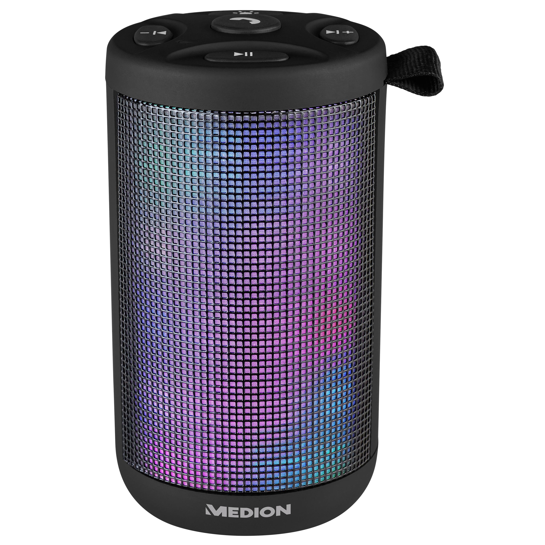 MEDION® LIFE® E61102 Bluetooth Lautsprecher mit LED Lichtshow, 20 Watt Musikausgangsleistung, Freisprechfuntkion, 20 LED´s, 7 Lichtmodi