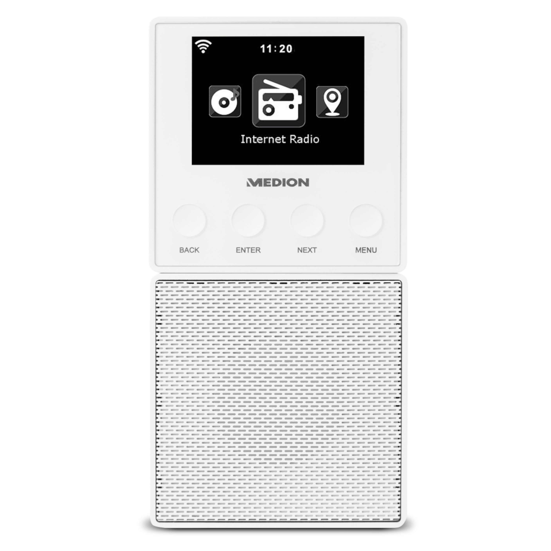 MEDION® E85032 Steckdosen Internetradio, 6,1 cm/2,4 TFT Farbdisplay, Steuerung per App, DLNA/UPnP kompatibel, WLAN und Bluetooth-Funktion