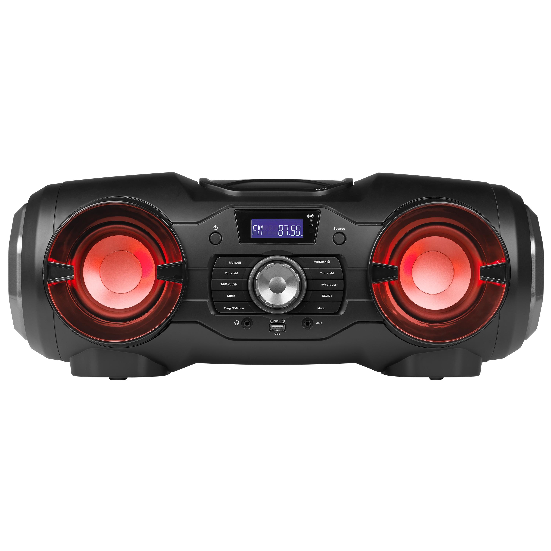 MEDION® LIFE® P65104 Mobiles Bluetooth-Stereo-Soundsystem mit wechselnden, farbigen Lichteffekten, CD-Player, USB Anschluss, 2 x 12,5 Watt RMS