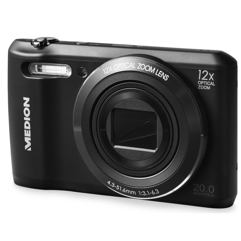 MEDION® LIFE® P44022 20 MP Digitalkamera, 12-fach optischer Zoom, Wifi-Funktion, mechanischer Bildstabilisator, Weitwinkel-Objektiv