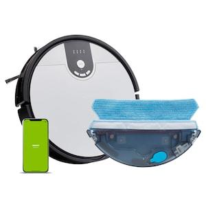 MEDION® Robotstofzuiger S20 SW MD20011 | App- en Alexa-besturing | Stofzuigen en dweilen | Intelligente navigatie | Cycloontechnologie | Groot stofreservoir | 100 min. looptijd