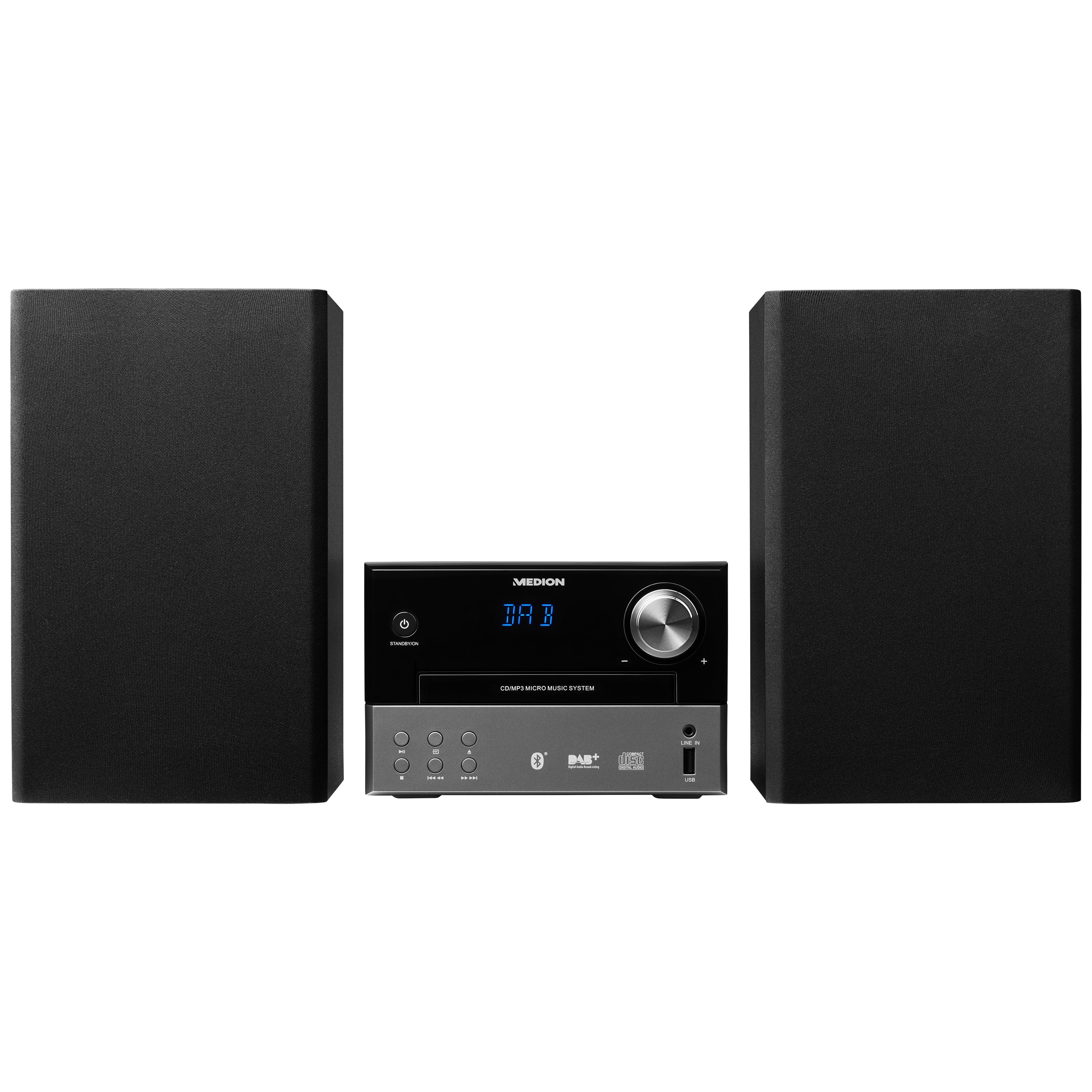 MEDION® LIFE® P64190 Mikro Audio System mit DAB+ und Bluetooth, CD/MP3-Player, USB, AUX-Eingang, UKW/MW-Radio, 2 x 15 W RMS