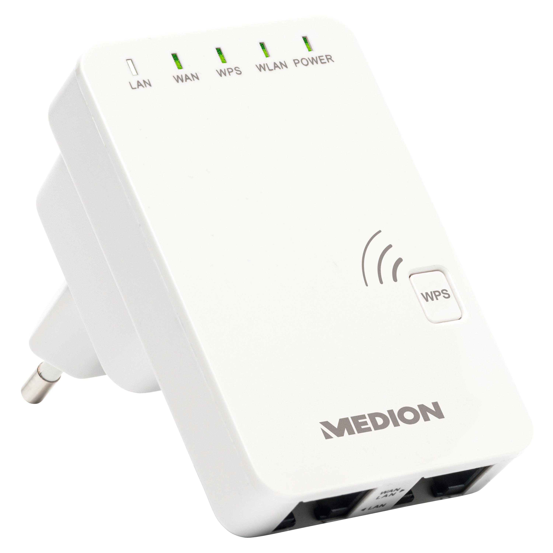 Günstig Kaufen beim Preisvergleich-MEDION LIFE® P85032 WLAN Verstärker, erweitert schnell und effektiv die WLAN-Reichweite, 4 verschiedene Modi, WPS-Taste, Status-LED, kompaktes Design WLAN-Reichweite vergrößern,  4 Modi: Verstärker, Router, Access Point, Client,  Einfache Installat