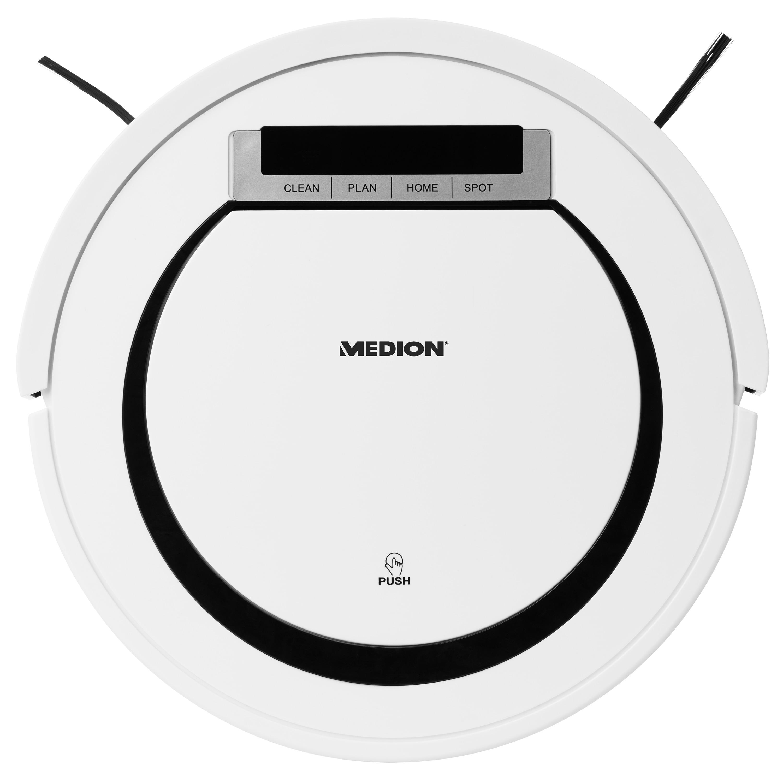 MEDION® Saugroboter MD 18600 für Teppiche, Fliesen, Parkett und Laminat mit 90 Min. Laufzeit, Rückkehr zur Ladestation, Programmierfunktion & Sicherheitssensoren