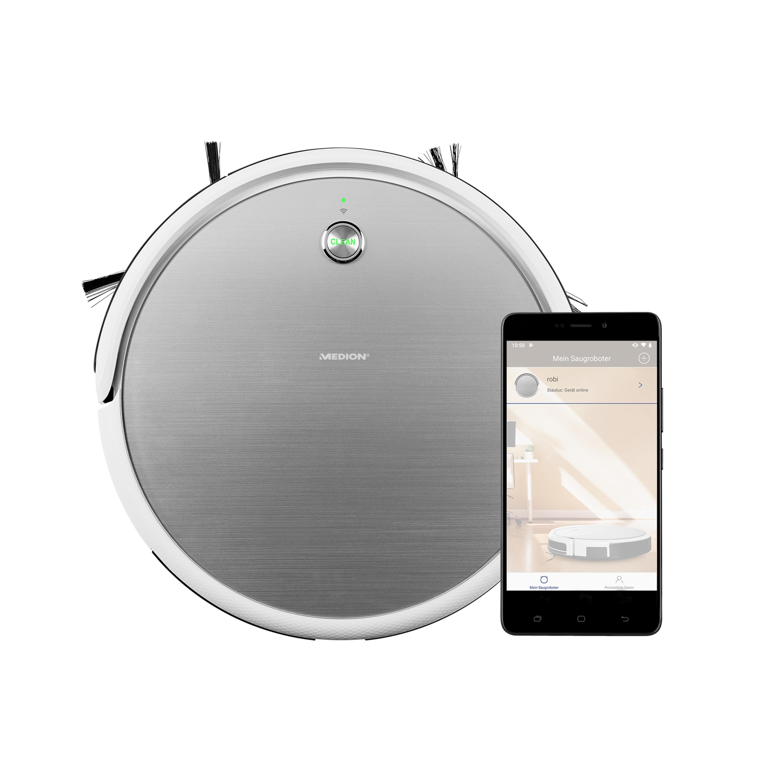 MEDION® Saugroboter MD 18318, intelligente Navigation, bequeme Steuerung per Smartphone oder Tablet, programmierbarer Reinigungsplan, bis zu 100 Min Laufzeit