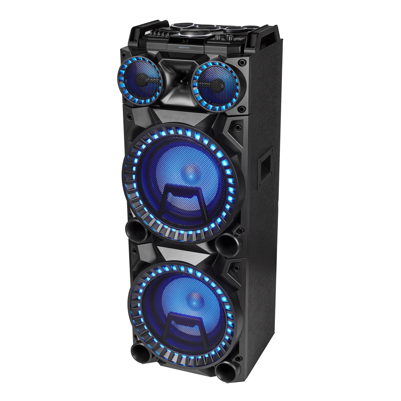 MEDION® LIFE® X64050, Party-Lautsprecher mit Drum Pads, Mikrofon, LED Lichteffekte, kraftvolle Bässe, Gitarreneingang