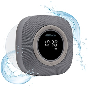 MEDION® LIFE P66096 Bluetooth Douche Radio | LED-Display | FM radio | IPX6 waterdicht | 3 Watt RMS | Grijs