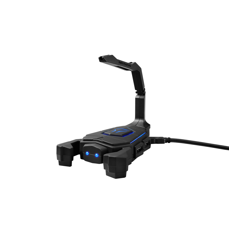 ERAZER® X89050, Mouse Bungee, LED Beleuchtung, bringt Ordnung auf den Schreibtisch, 4 USB Anschlüsse