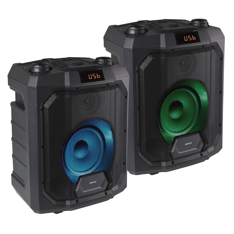 MEDION® Sparpaket 2x LIFE® P61988 Trolley Partylautsprecher mit Bluetooth®, LED-Display, Karaoke Funktion, Bass Boost, farbige LED-Lichter, ausziehbarer Teleskopgriff & Rollen, integr. Akku