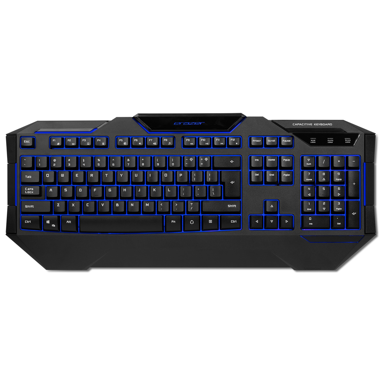 ERAZER® X81019, Gaming Tastatur, präzise Tastenreaktion, Hintergrundbeleuchtung, 24 Anti-Ghosting-Tasten
