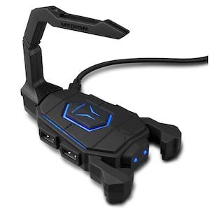 MEDION® ERAZER X89050 Support de câble pour souris | HUB USB | Eclairage LED Bleu | Gestion des câbles | 4 Ports USB 2.0