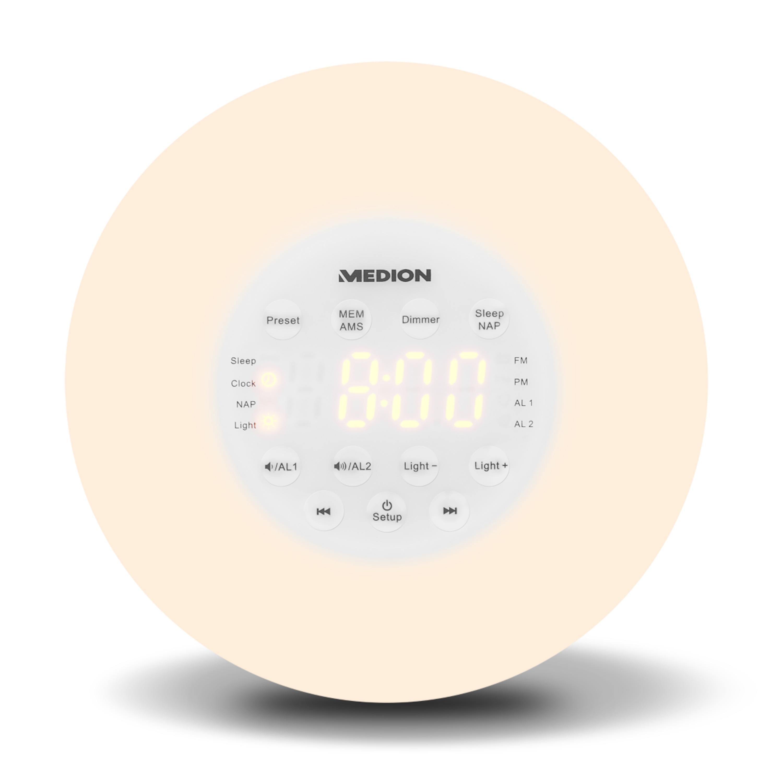 MEDION® Lichtwekker P66080 | PLL FM-Radio | Slaapfunctie | AMS | Zonsopgang simulatie | Tijdweergave
