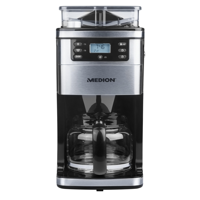 MEDION® Kaffeemaschine mit Mahlwerk MD 15486, 8 Mahlstufen, 1,5 Liter Wassertank, 1050 Watt