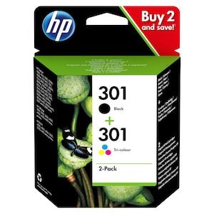 HP 301 Multipack Druckerpatronen, 2er-Pack Schwarz/Cyan/Magenta/Gelb, gestochen scharfe Texte in sattem Schwarz, Bilder und Grafiken in brillanten Farben