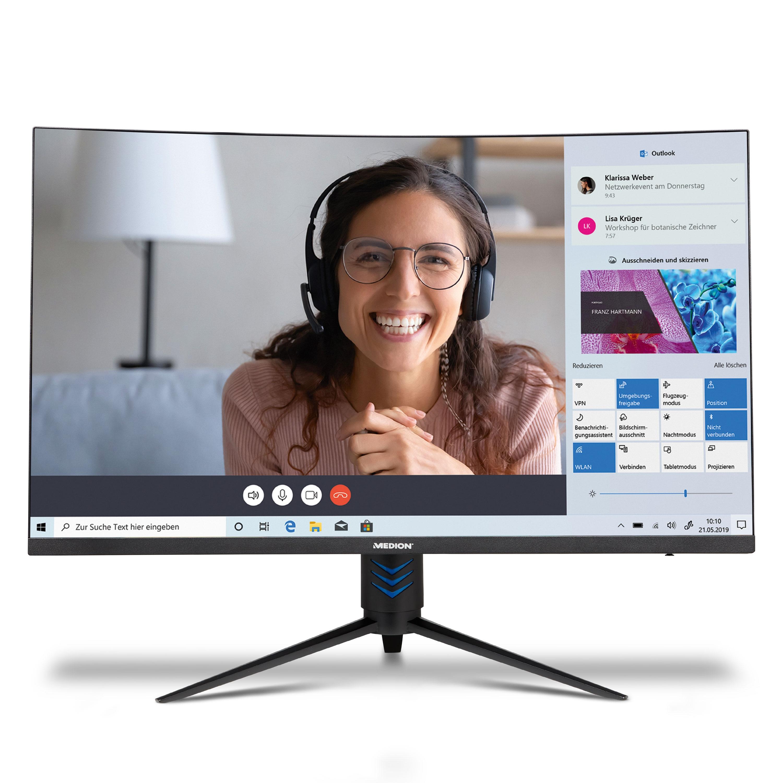 MEDION® AKOYA® P53292 Curved Monitor, 80 cm (31,5'') LED-Backlight FHD Display, DisplayPort, HDMI®, 165Hz, 1 ms Reaktionszeit, integrierte Lautsprecher