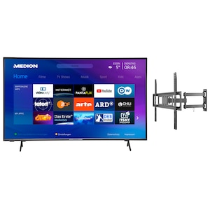MEDION® LIFE® X15554 138,8 cm (55'') Ultra HD Smart-TV + GOOBAY Basic FULLMOTION (L) Wandhalterung - ARTIKELSET