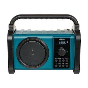 MEDION® LIFE® P66220 Bluetooth® Baustellenradio, PLL-UKW Radio, LC-Display, Bluetooth® 5.0, Spritzwassergeschützt (IP44), robustes Gehäuse, LED-Arbeitslicht, 50 W max. Musikausgangsleistung