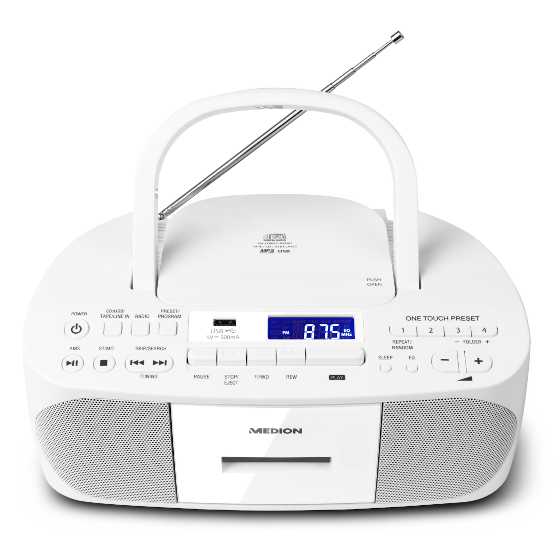 MEDION® LIFE® E64070, CD-Kassetten-Radio mit MP3-Wiedergabe, PLL-UKW Radio, USB Anschluss, CD-R/RW kompatibel, AUX, 2 x 30 W max. Musikausgangsleistung