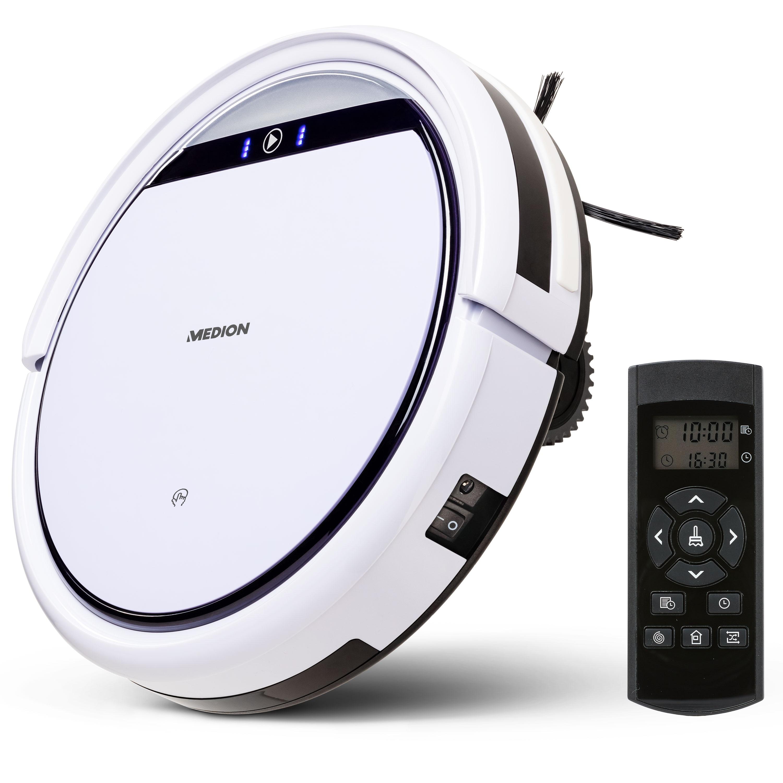 MEDION® Saugroboter MD 19511, systematische Navigation, bis zu 100m², Hinderniserkennung, saugt unter Möbeln (8cm), Tierhaar und Allergiker optimiert, 90 Min. Laufzeit, Programmierfunktion, Modell 2020