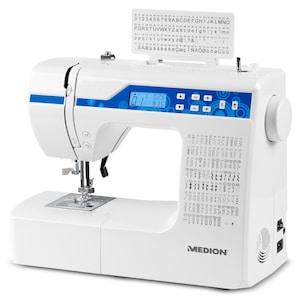 MEDION® Digitale Nähmaschine MD 15694, Knopflochautomatik, 100 Stiche, 100 Alphabetstiche, 69 Doppel-Nadel-Stiche, LED-Nählicht, umfangreiches Zubehör
