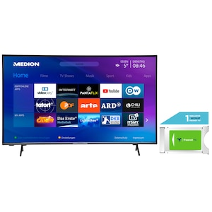 MEDION® LIFE® X14351 108 cm (43'') Ultra HD Display Smart-TV +DVB-T 2 HD Modul (1 Monat freenet TV gratis) - ARTIKELSET