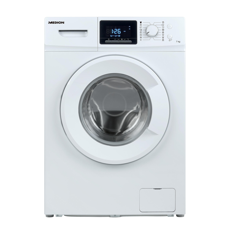 MEDION® Waschmaschine MD 37378, Nennkapazität 7 kg, 16 Waschprogramme, 1400 U/min, LED-Display, Startzeitverzögerung