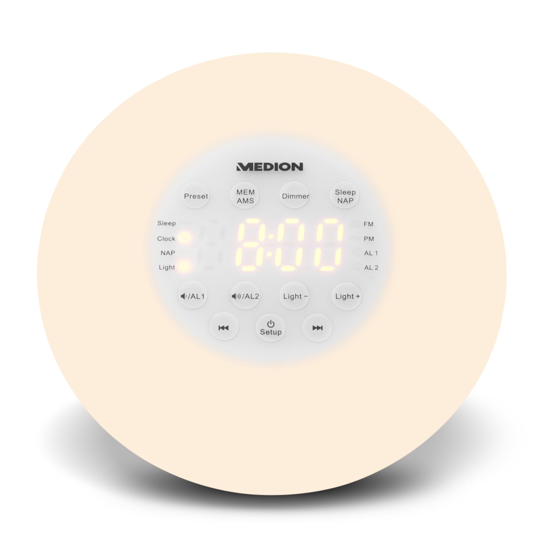 MEDION® PLL Uhrenradio P66080, PLL-UKW Radio, AMS, Radio Data System, Nap Timer, Sonnenaufgangssimulation  (B-Ware)