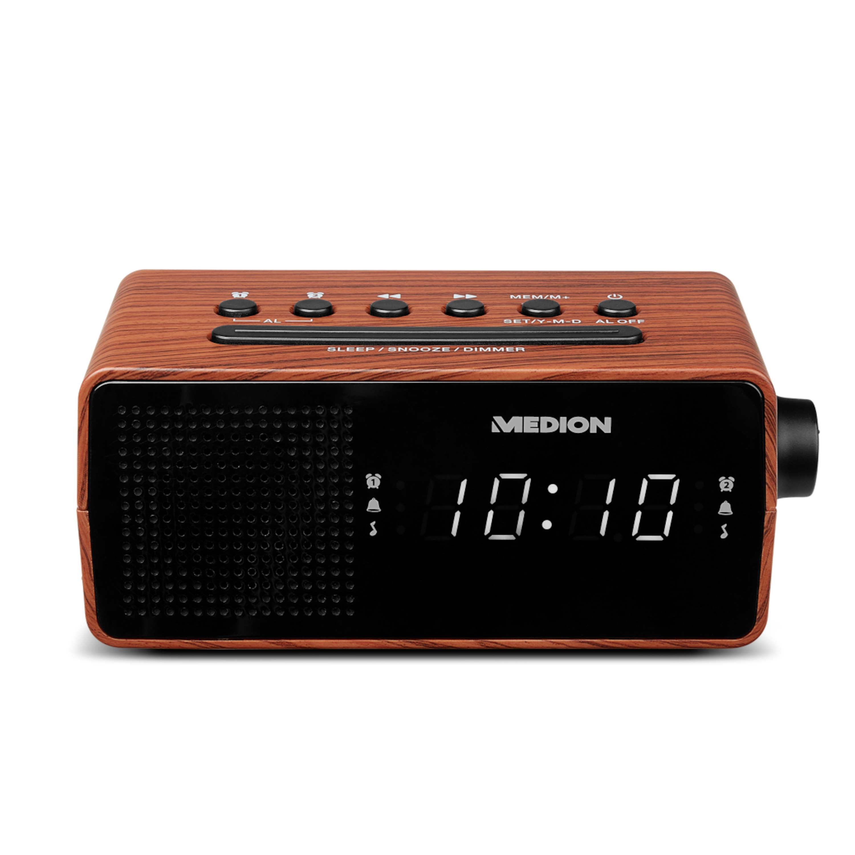 MEDION® LIFE® E66403 PLL-Uhrenradio, LED-Display mit weißen Ziffern, Wecken durch Radio oder Alarmton