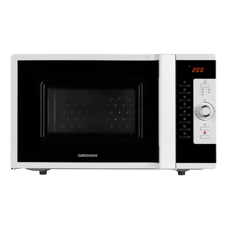 MEDION® 3in1 Mikrowelle MD 18502, Kombination aus Mikrowelle, Ofen und Grill, 5 Automatikprogramme, 28 L Garinnenraum, weiß