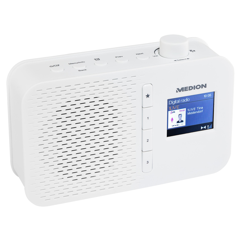 MEDION® LIFE® E66487 Tragbares DAB+ Radio, 4,57 cm (1,8')' TFT Farbdisplay, DAB+/UKW mit 60 Senderspeichern (je 30 DAB+/UKW), automatische Uhrzeitsynchronisierung, Netz-/ oder Batteriebetrieb, kompaktes Design  (B-Ware)