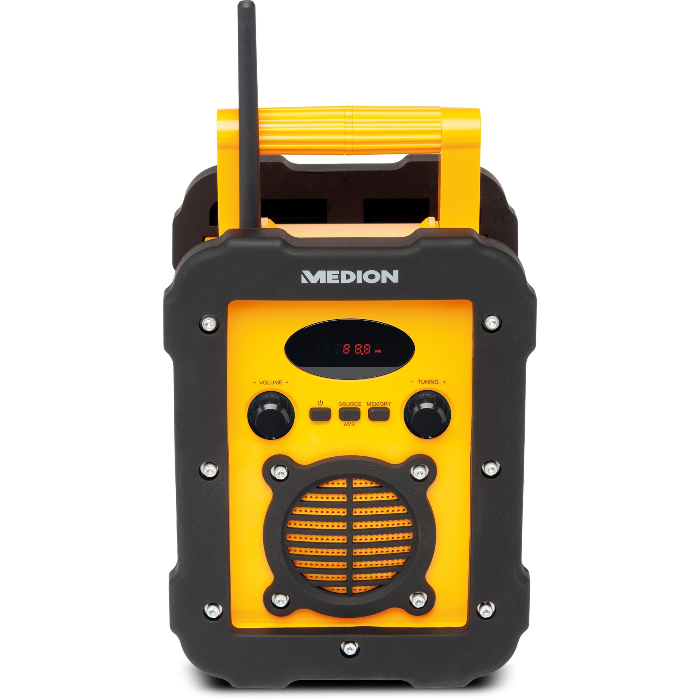 MEDION® LIFE® E66262 Baustellenradio, LED-Display, PLL-UKW Radio, Bluetooth®-Funktion, IP44-spritzwassergeschützt, robustes und stoßfestes Gehäuse
