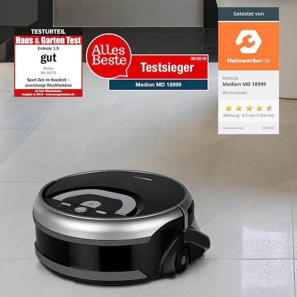 Robot lau nhà MEDION® MD 18379, với điều hướng thông minh, làm sạch ướt hoàn toàn tự động, bình chứa nước 0,8 l, thời gian chạy lên đến 80 phút