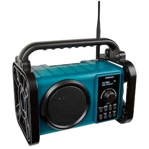 MEDION® LIFE E66045 Radio de chantier Bluetooth pour | Radio DAB+/PLL-UKW | Ecran LCD à matrice de points | Bluetooth 5.0 | Résistant aux éclaboussures (IP44) | Boîtier robuste | Lampe de travail LED | Puissance de sortie musicale max. 50 W