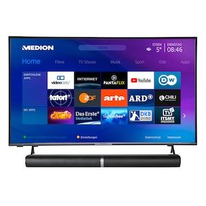 MEDION® Offre combinée ! LIFE® P14327 Full HD Smart-TV 43 pouces & P61202 Barre de son 2.0 avec Bluetooth