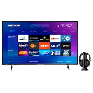MEDION® LIFE® X14306 108 cm (43'') Ultra HD Smart-TV + E62003 Funkkopfhörer - ARTIKELSET